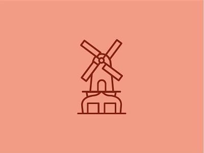 Lombok - Utrecht places buildings monumental mill illustration icon