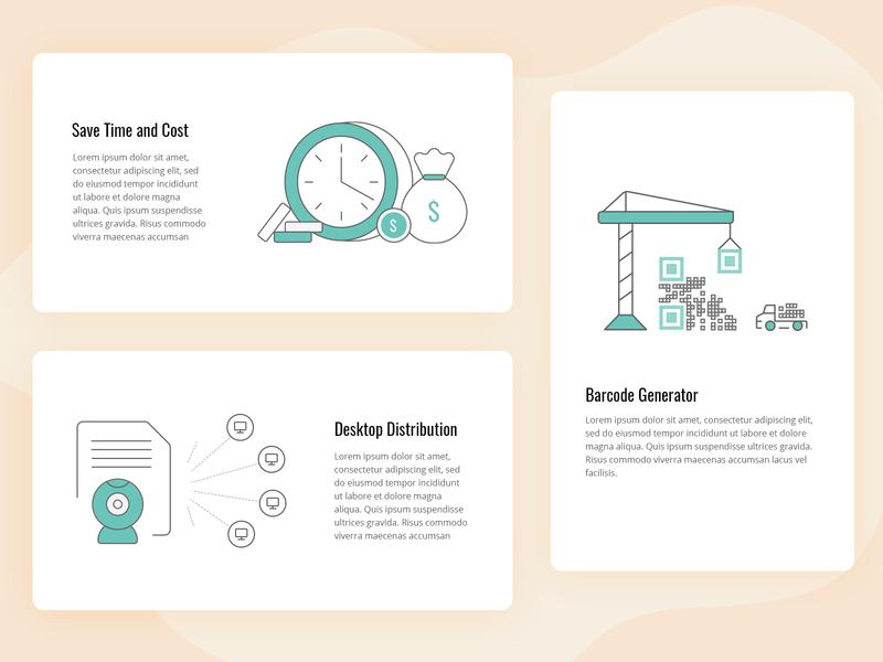 Simple illustrations barcode generator illustration desktop distribution time and cost