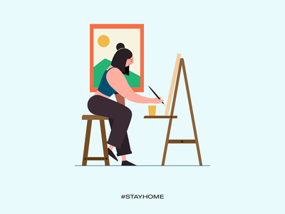 Stay home - stay creative stay safe stay healthy stay fit covid19 illustrations vector work from home stay home