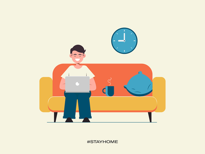 Stay home - enjoy work stay safe stay healthy stay fit covid19 illustrations vector work from home stay home