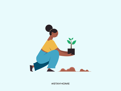 Stay home - plant a tree plant tree save planet stay safe stay healthy stay fit covid19 illustrations vector work from home stay home