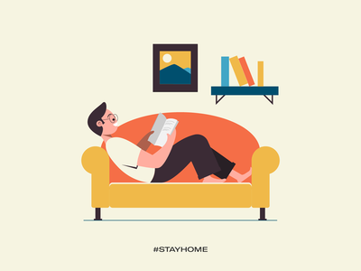Stay home - read more stay safe stay healthy stay fit covid19 illustrations vector work from home stay home
