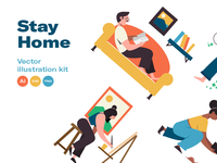 Stay home - Illustration kit stay safe stay healthy stay fit covid19 illustrations vector work from home stay home