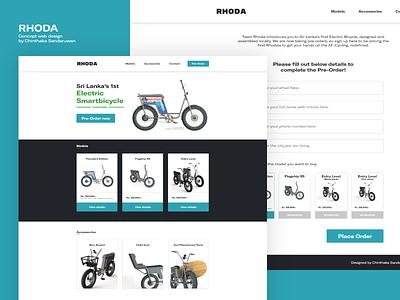 RHODA - Concept web design smart bike srilanka web webdesign electric bike design ux ui