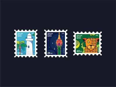 Ceylon - Stamp Concepts concepts ceylon stamp vector illustration design art digitalart
