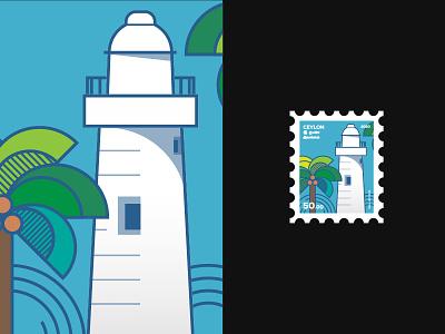 Stamp concept - Galle light house ceylon stamp design stamp design vector illustration