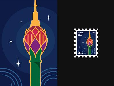 Stamp concept - Lotus tower ceylon concept stamp design stamp vector art illustration design