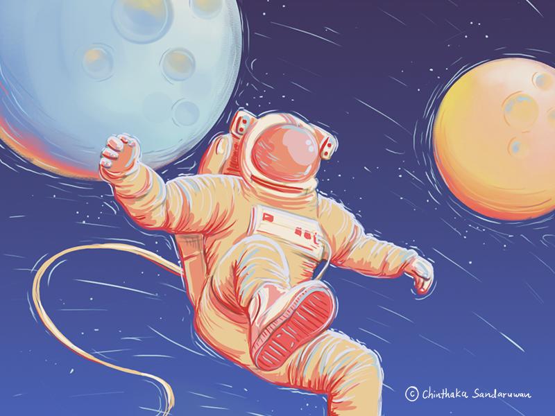 Astronaut photoshop digitalart wacom cintiq universe moon planets space astronaut