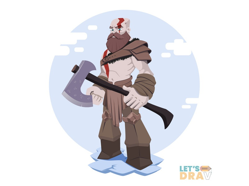 Kratos God Of War 4 Vector Speed Drawing Ep 04 By