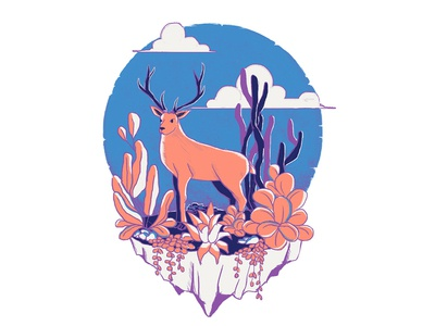 Color Palette Challenge abode photoshop digital art bluesky illustation art deer weloveillustration