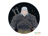 Geralt (The Witcher 3) - Vector speed drawing (Ep_#07)