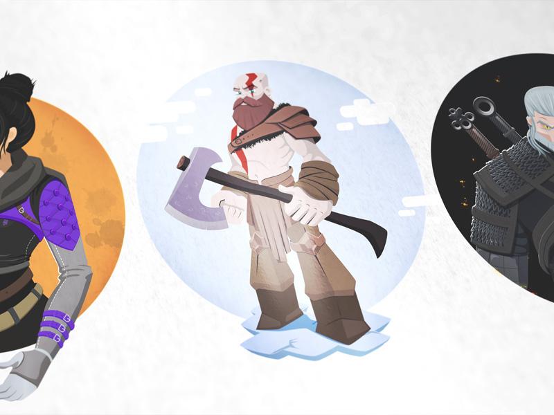 Vector Drawings apex legends witcher3 godofwar wraith geralt kratos art vector digitalart illustration