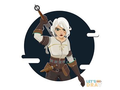 Ciri (The Witcher 3) - Vector speed drawing witcher3 ciri illustrator photoshop speed drawing art vector digitalart illustration
