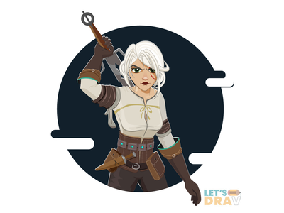 Ciri (The Witcher 3) - Vector speed drawing witcher3 ciri illustrator photoshop speed drawing art vector digitalart illustration