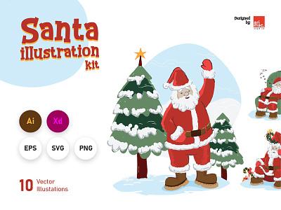 Hand drawn vector Santa Illustration kit rain deer snow seasonal vector drawn