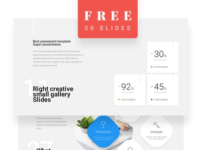 Free 50 Slides / Materialo Powerpoint Template clean presentation material design material bonus slides free powerpoint
