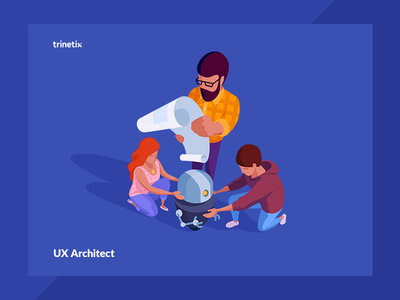 UX Architect vacancy trinetix character ux architect robot team illustration