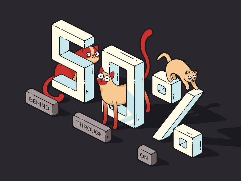 Cats numbers on through behind kitten cute cat illustration trinetix