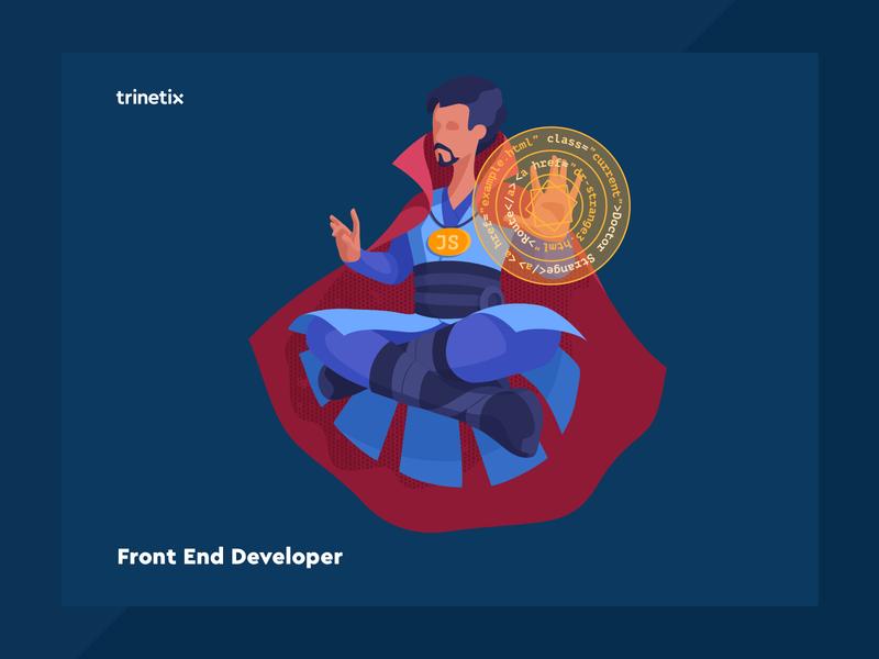 Front End Developer levitate doctor strange front end developer vacancy character illustration trinetix