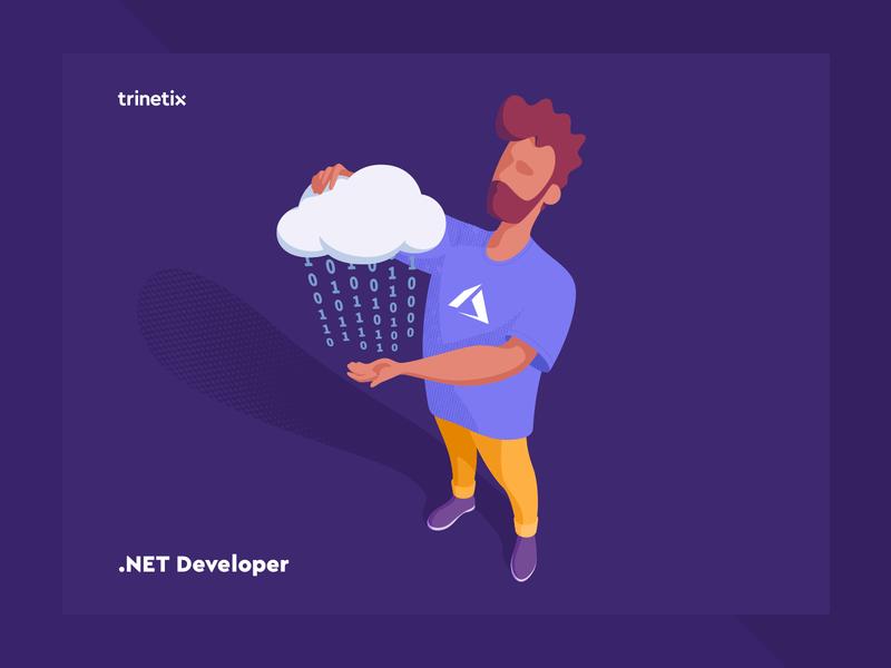 .NET Developer vector ai design azure cloud developer vacancy illustration trinetix