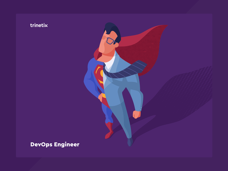 DevOps Engineer hero engineer developer devops superman vacancy illustration trinetix