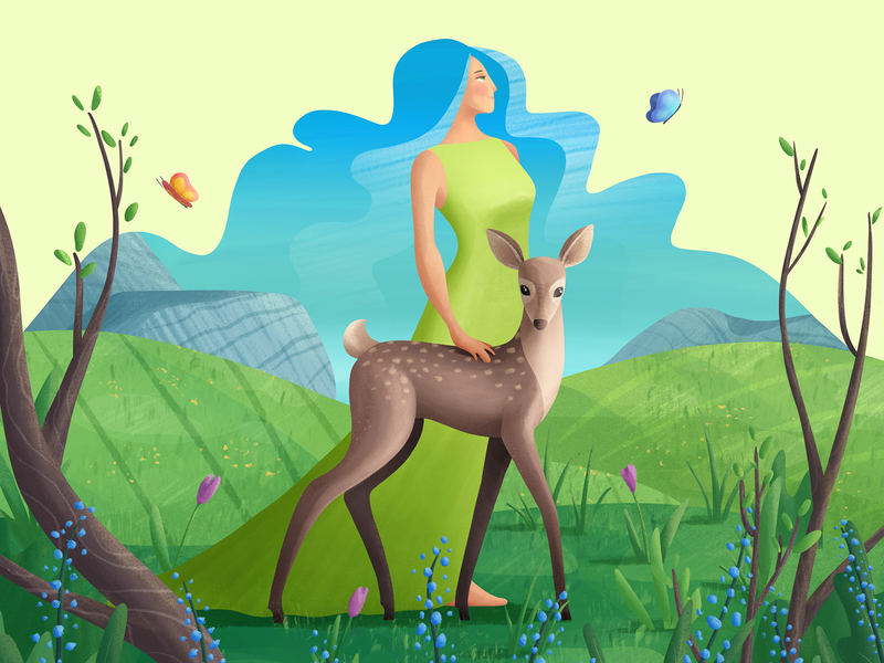 The Beauty of Spring butterfly flowers landscape woman fawn deer nature spring procreate illustration trinetix