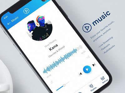 Music App Concept ios playlist music ui player song card blue app