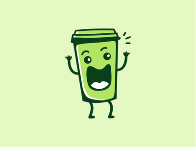 I like big cups and I cannot lie green happy take away cup illustration vector minimal icon simple funny coffee character