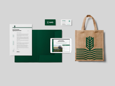 AAG Stationery farm australia letterhead totebag flat lay stationery branding brand simple identity logo symbol modern icon graphic minimal design
