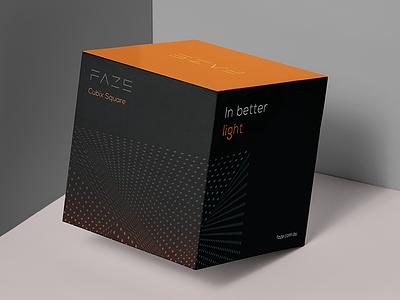 Faze Lighting Packaging dot pattern lighting branding brand cardboard square minimal modern logo premium packaging cube