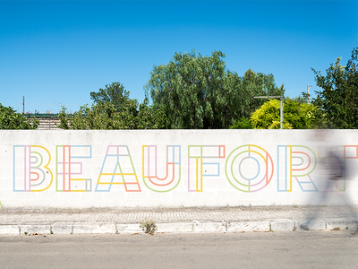 Beafort Street Mural colorful line graphic lettering branding brand minimal type modern simple design typography mural