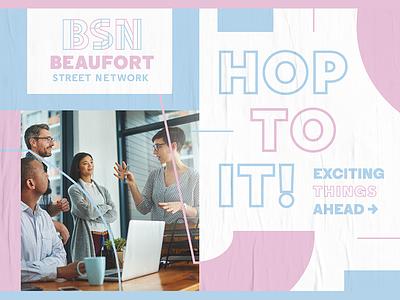 Beaufort Street Networking line poster color pastel geometric shapes creative fun brand branding identity modern type typography design minimal