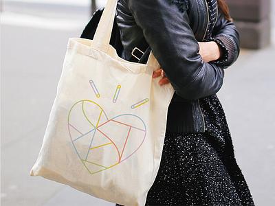 BEAUF<3RT minimal vector brand branding symbol modern identity design graphic trendy geometric fun heart icon line multicolor color canvas bag tote