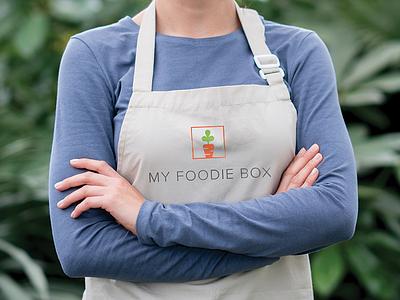 My Foodie Box canvas embroidery brand mark vector bespoke apron orange carrot box brand branding symbol type modern identity design graphic minimal icon logo