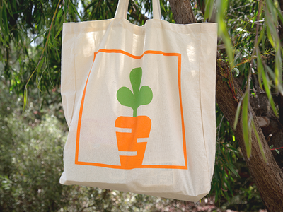 My Foodie Box screenprint food canvas tote orange carrot vector brand mark line brand branding symbol modern simple identity design graphic minimal icon logo