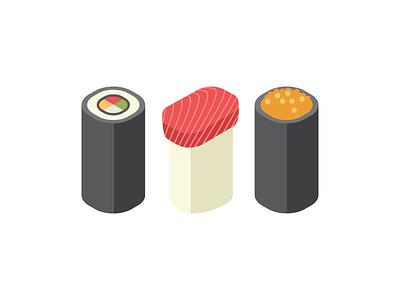 Sushi long sushi vector flat illustration modern simple design graphic minimal