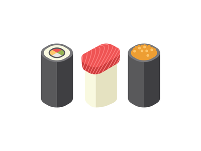 Sushi long sushi vector flat illustration modern simple design graphic minimal