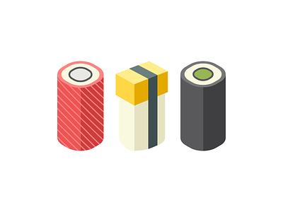 Sushi flat long sushi vector illustration modern simple design graphic minimal