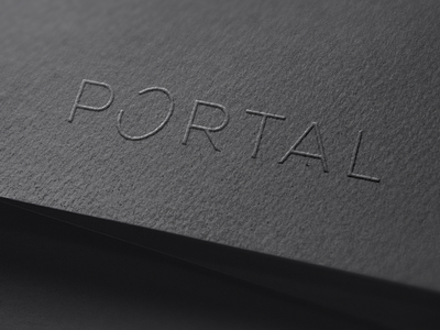 Portal portal sci fi space science black paper embossing emboss stationary print brand branding type modern simple identity design graphic minimal logo