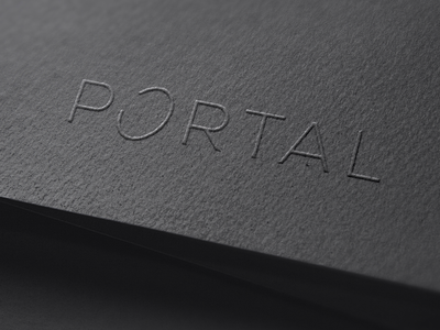 Portal portal sci fi space science black paper embossing emboss stationary print brand branding type modern simple identity design graphic minimal logo