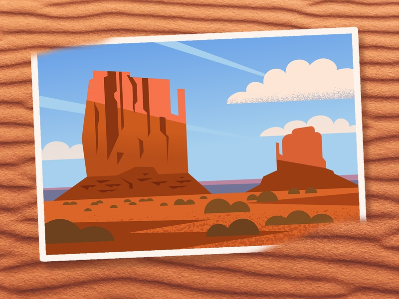 Monument Valley utah postcard design postcard sand weekly warm-up weeklywarmup clouds sunset sky monument valley desert digital vector illustration