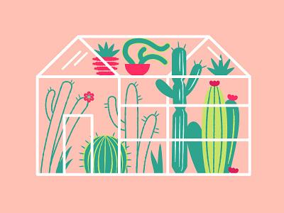 Cactus Garden terrarium palm springs house digital vector illustration plants desert flowers greenhouse cacti cactus garden