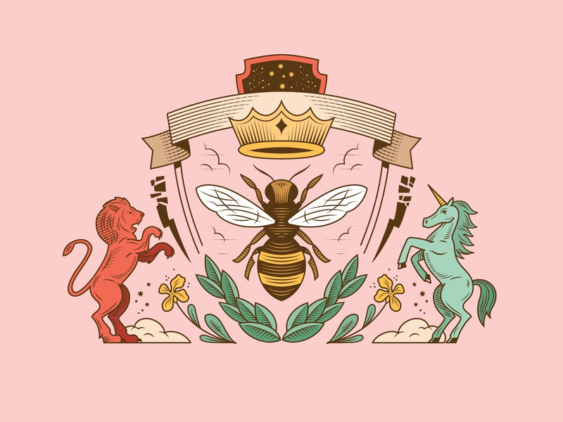Family Crest crown plants lion unicorn bee crest family digital vector illustration