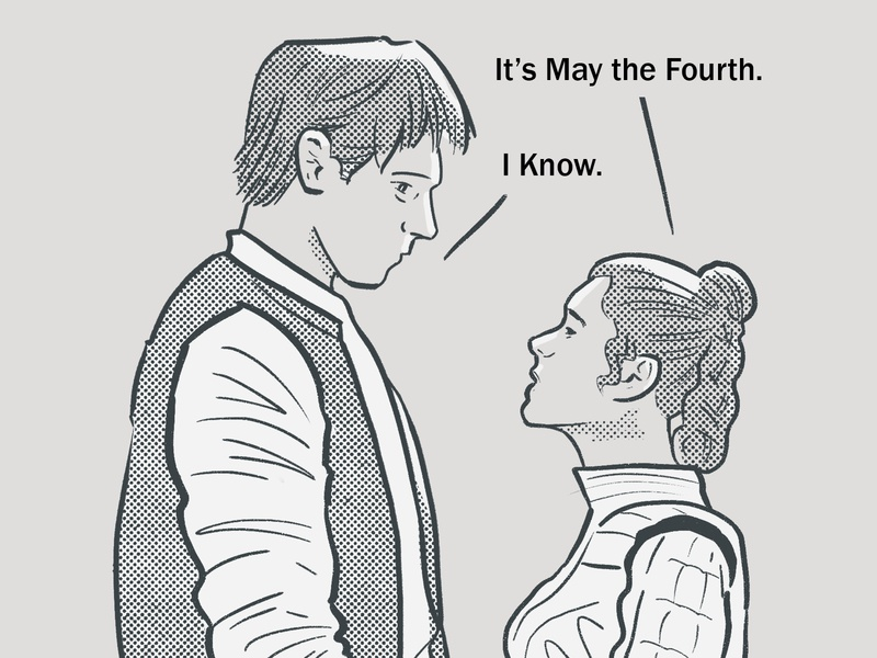 May the Fourth may the fourth princess leia han solo star wars halftone sketch illustration