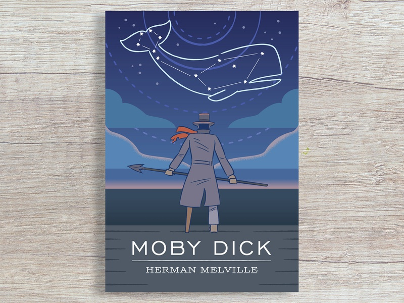 Moby Dick Cover weeklywarmup water ocean moby dick whale book cover book digital vector illustration