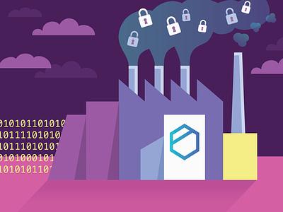 Tresorit Factory encryption security factory rebound playoff digital vector illustration
