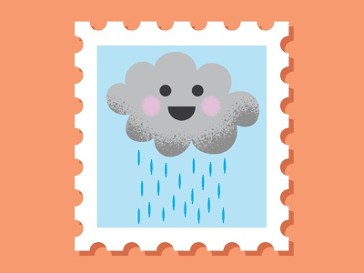 Cloud Stamp stamps stamp cloudy snail mail mail rain cloud digital vector illustration
