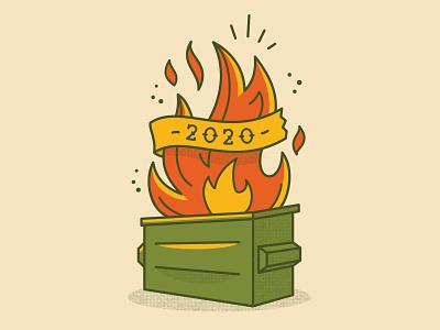 Dumpster Fire Tattoo 2020 apparel flash tattoo dumpster fire fire dumpster tattoo digital vector illustration
