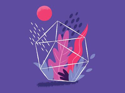 Prism prism moon terrarium plant plants digital vector illustration