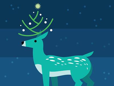 Christmas Deer christmas tree snow tree lights deer christmas digital vector illustration